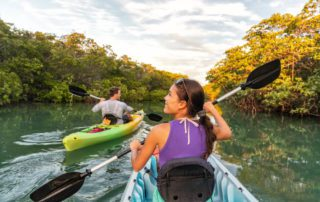 A photo of two people exploring Key West waters on a kayak rental.